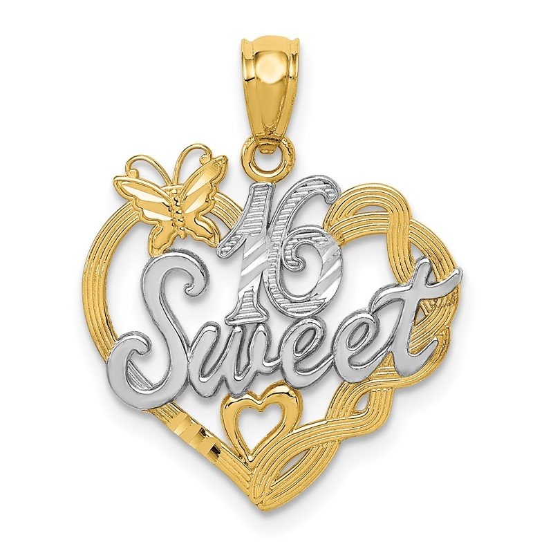 Quality Gold 14k and Rhodium SWEET 16 Pendant
