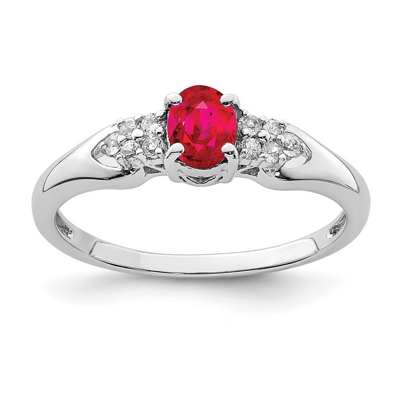Quality Gold Sterling Silver Rhodium-plated Ruby and White Sapphire Ring