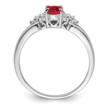 Sterling Silver Rhodium-plated Ruby and White Sapphire Ring