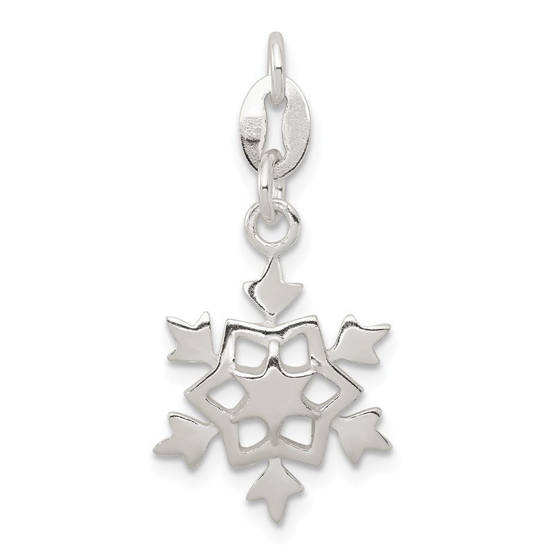 Quality Gold Sterling Silver Polished Snowflake Charm