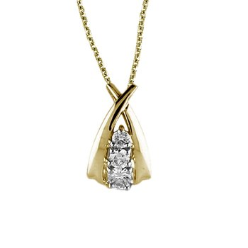 14k Yellow Gold Diamond Ribbon Pendant (.25 carat)