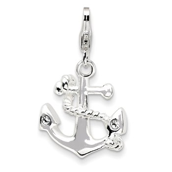 SS RH 3-D Enameled Anchor w/Lobster Clasp Charm