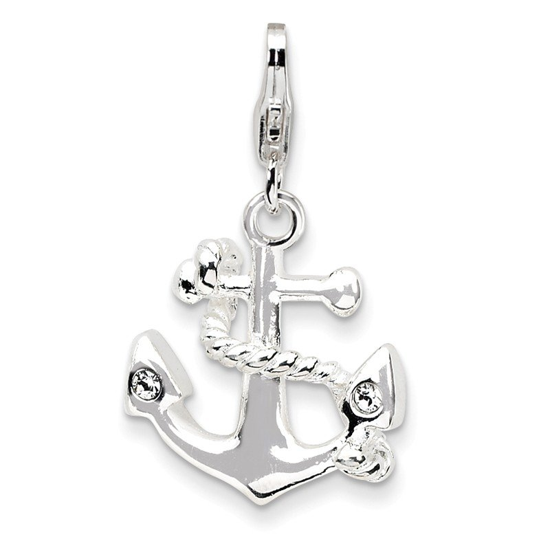 Quality Gold Sterling Silver 3-D Enameled Anchorw/Lobster Clasp Charm