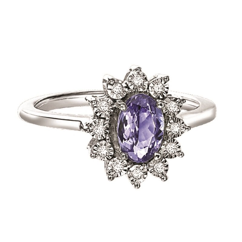 Mixables Silver Diamond & Tanzanite Ring