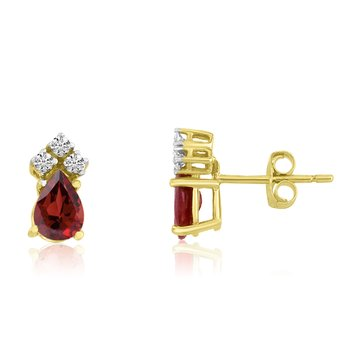 14k Yellow Gold Garnet Pear Earrings with Diamonds