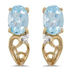Color Merchants 14k Yellow Gold Oval Aquamarine And Diamond Earrings