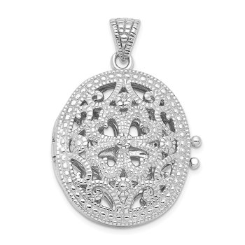 Sterling Silver CZ Fancy Filigree Oval 22mm Locket