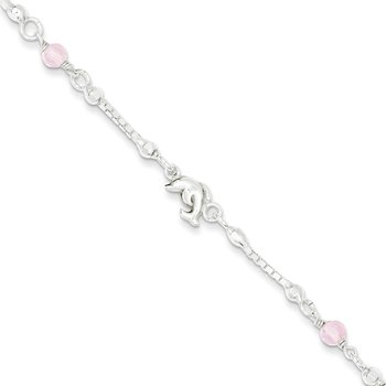 Sterling Silver Pink Glass Children's Dolphin 5in Plus 1in ext Bracelet