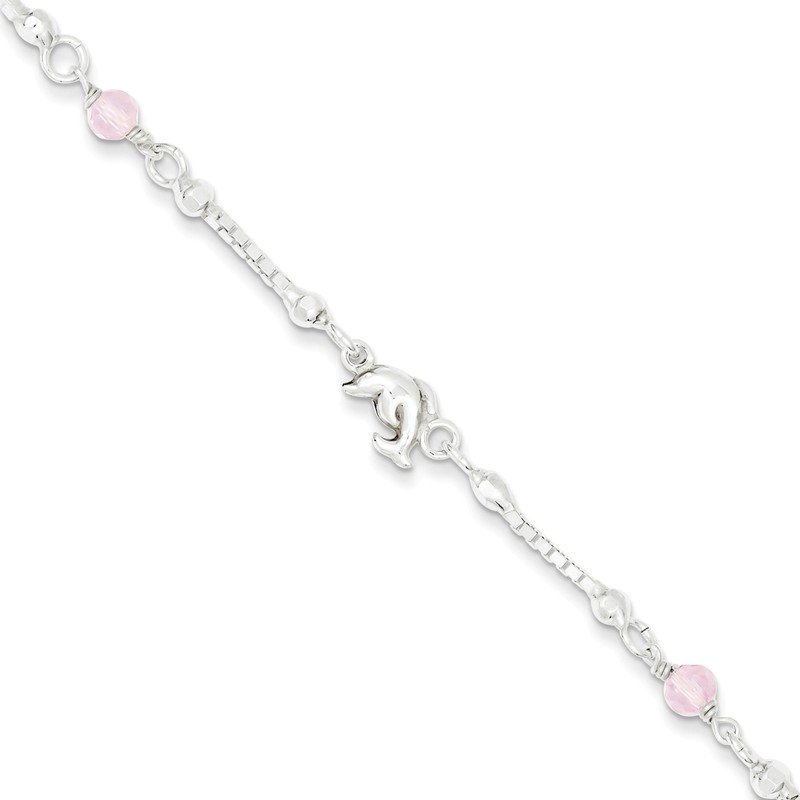 Fine Jewelry by JBD Sterling Silver Pink Glass Children's Dolphin 5in Plus 1in ext Bracelet