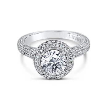 Kirk Kara 18K White Gold Diamond Halo Engagement Ring