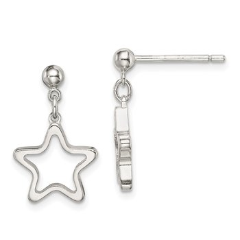 Sterling Silver Cut-out Star Dangle Post Earrings