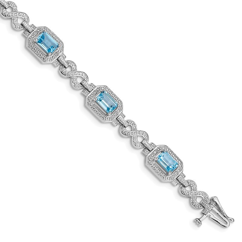 Quality Gold Sterling Silver Rhodium-plated Diamond & Light Swiss Blue Topaz Bracelet