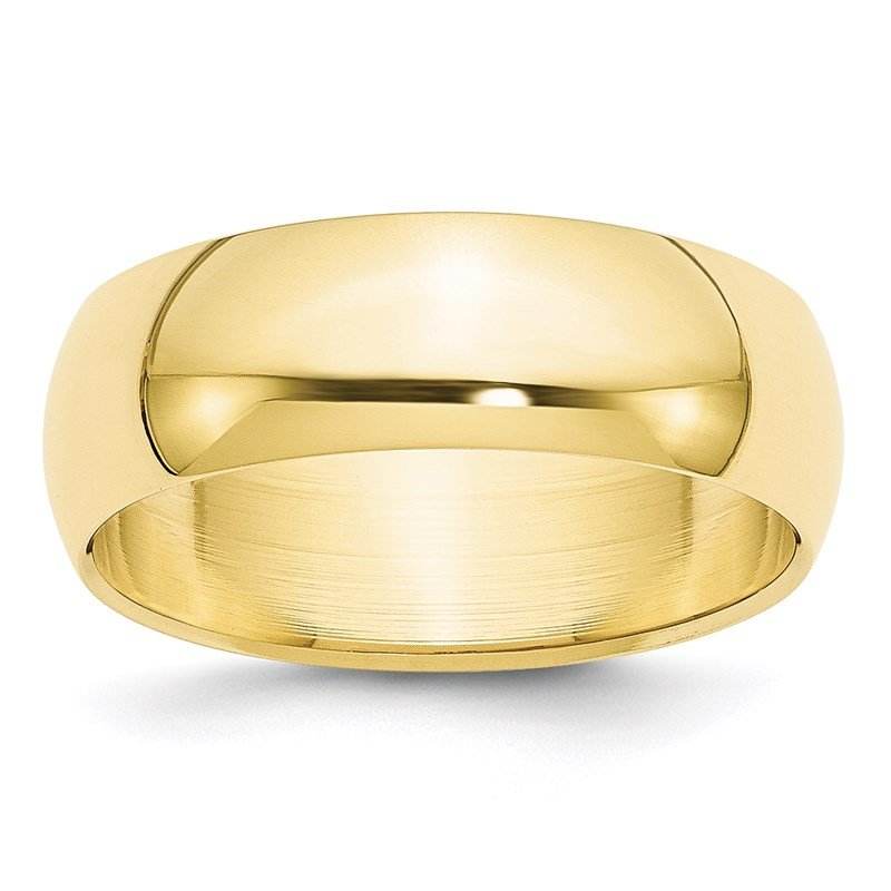 Quality Gold 10KY 7mm Half Round Band Size 10