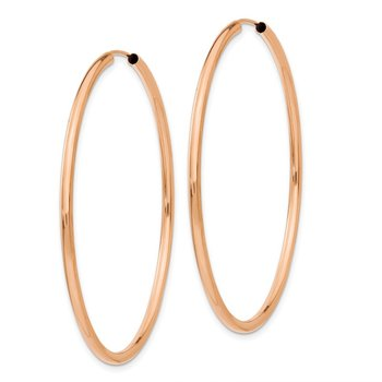 14k Rose Gold Polished Endless 2mm Hoop Earrings