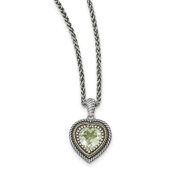 Sterling Silver w/14k Green Quartz Heart Necklace