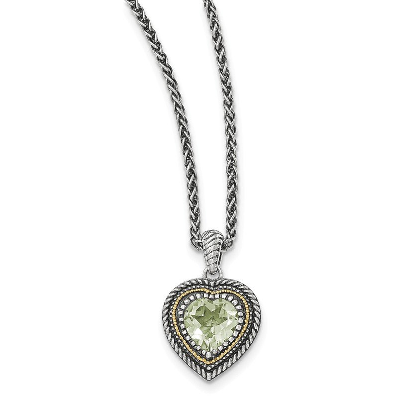 Shey Couture Sterling Silver w/14k Green Quartz Heart Necklace