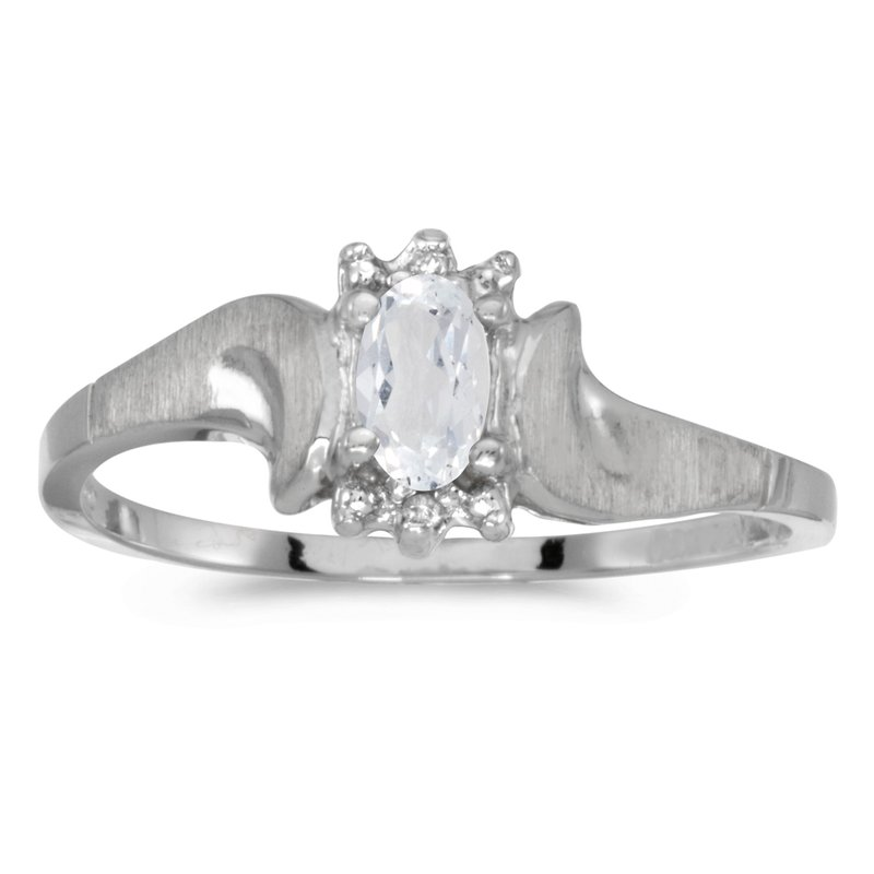 Color Merchants 10k White Gold Oval White Topaz And Diamond Satin Finish Ring