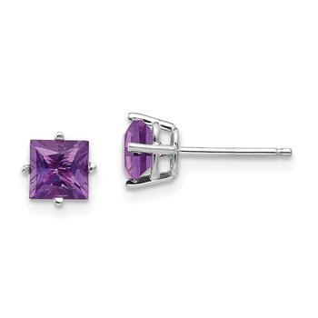 14k White Gold 5mm Princess Cut Amethyst Earrings