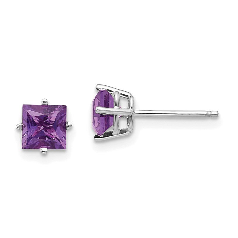 Lester Martin Online Collection 14k White Gold 5mm Princess Cut Amethyst Earrings