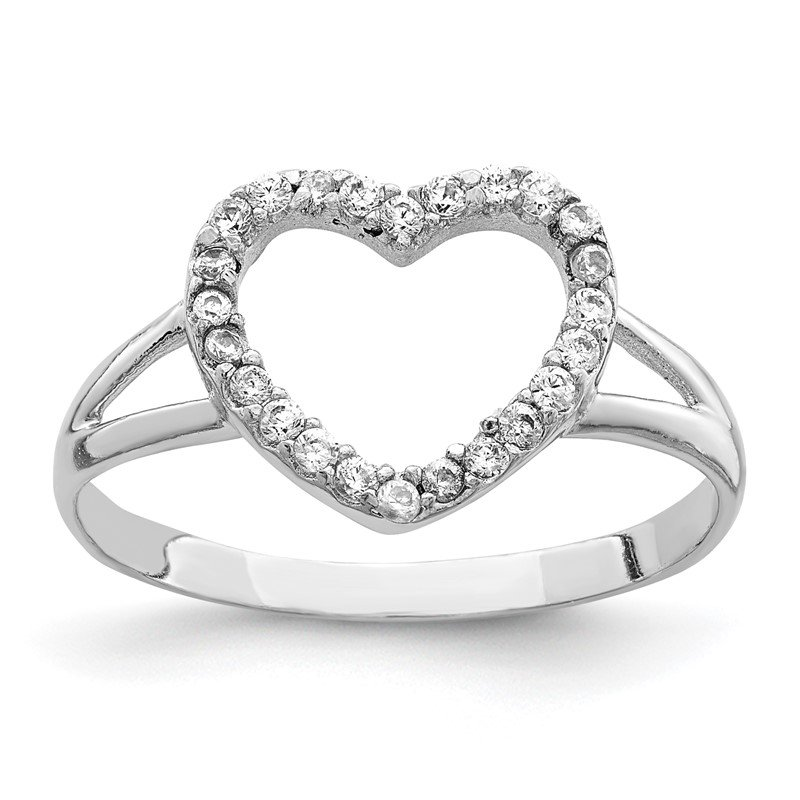 Quality Gold Sterling Silver Rhodium-plated Polished CZ Heart Ring