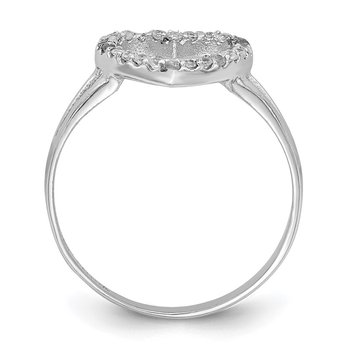 Sterling Silver Rhodium-plated Polished CZ Heart Ring