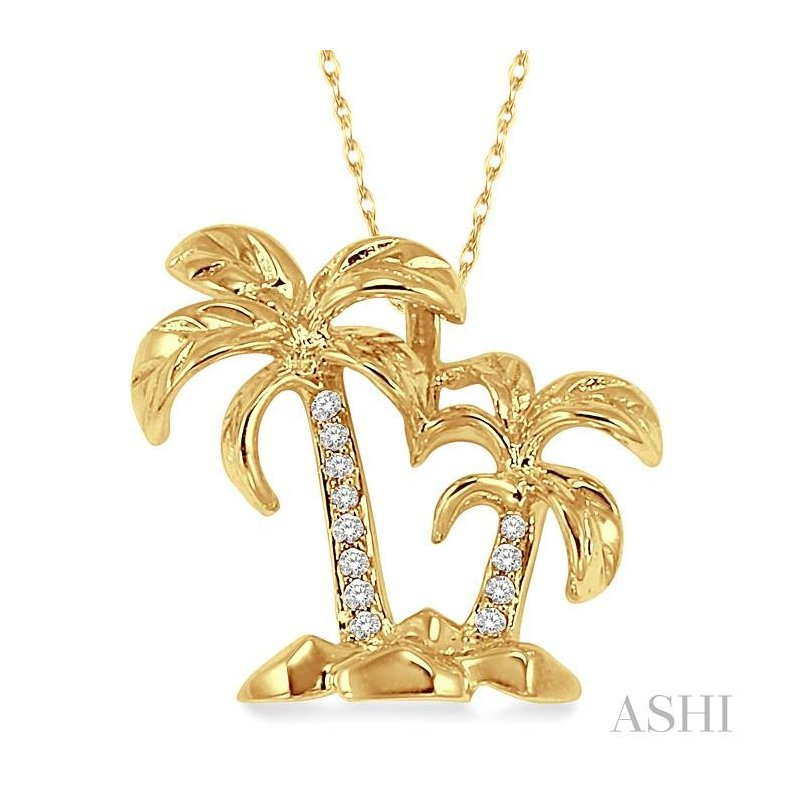 ASHI palm tree diamond pendant