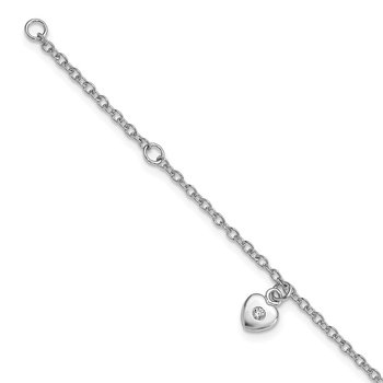 Sterling Silver Rhodium-plated CZ 5.5in Plus 1in. ext. Heart Bracelet