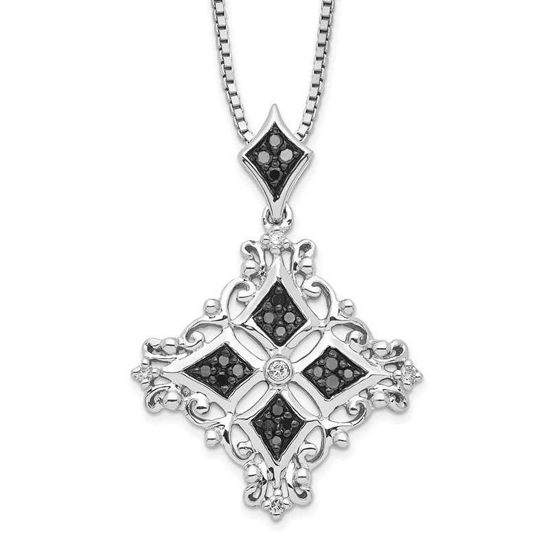 Quality Gold Sterling Silver Rhodium Plated Black & White Diamond Pendant Necklace