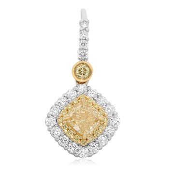 Cushion Cut Yellow Diamond Earrings