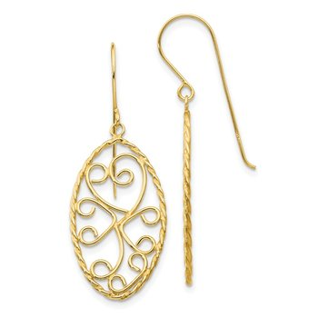 14K Oval Fancy Curved Bars Earrings