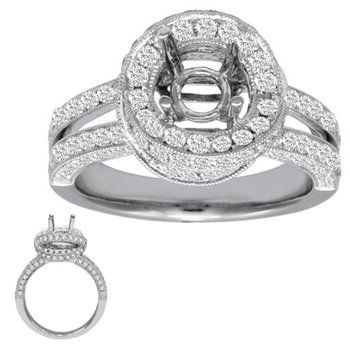 White Gold Engagement Ring Pave
