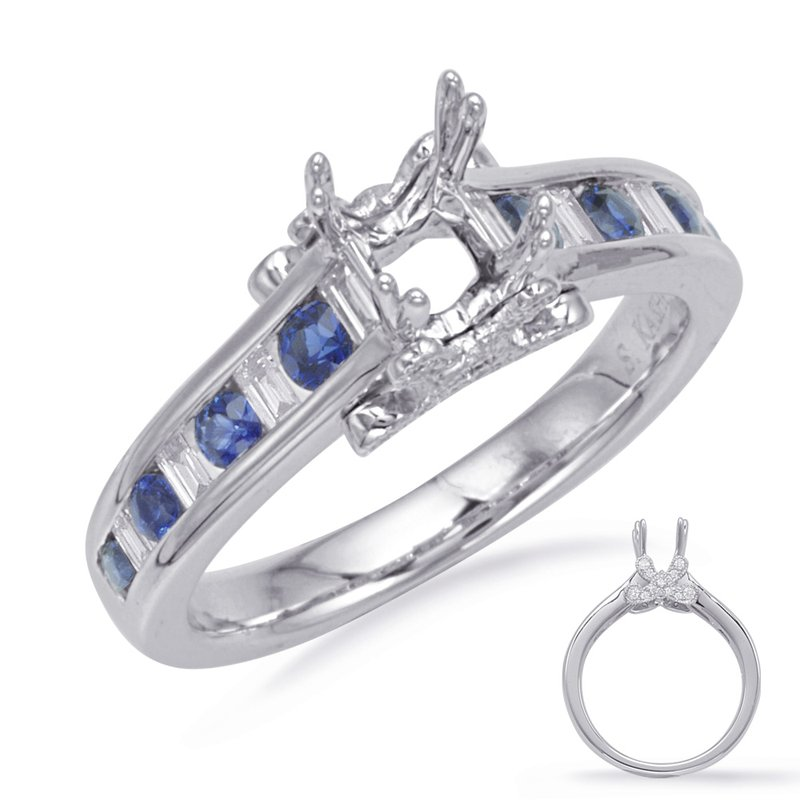 S. Kashi & Sons Bridal White Gold Sapphire & Diamond Ring
