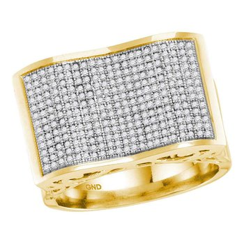 10kt Yellow Gold Mens Round Pave-set Diamond Rectangle Concave Cluster Ring 7/8 Cttw