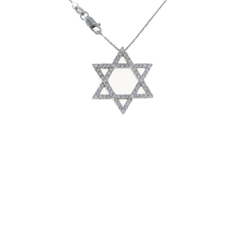 18Kt Gold Extra Large Diamond Star Of David Pendant