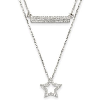 Sterling Silver Polished CZ Star and Bar 2-strand 16in Necklace
