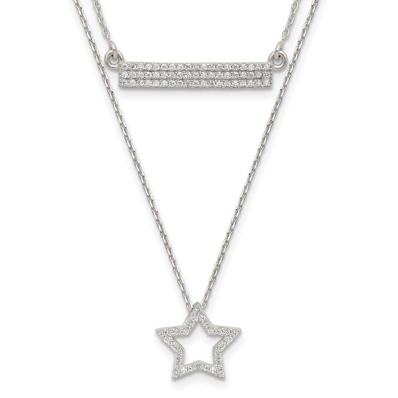 Quality Gold Sterling Silver Polished CZ Star and Bar 2-strand 16in Necklace