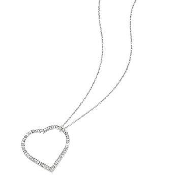 14k White Gold Diamond Fascination 18in Large Heart Necklace
