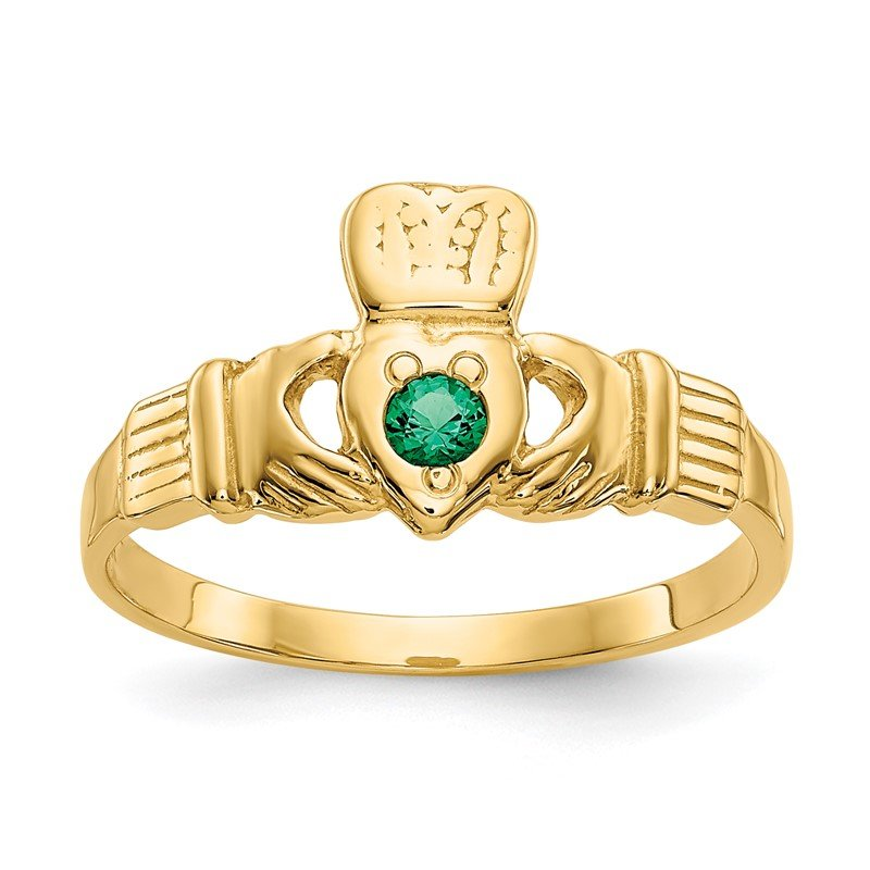 Quality Gold 14k Green CZ Claddagh Ring