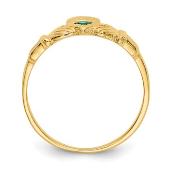 14k Green CZ Claddagh Ring