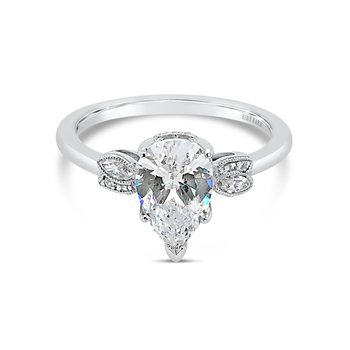 Home Try On Floral Leaf Pear Replica Engagement Ring
