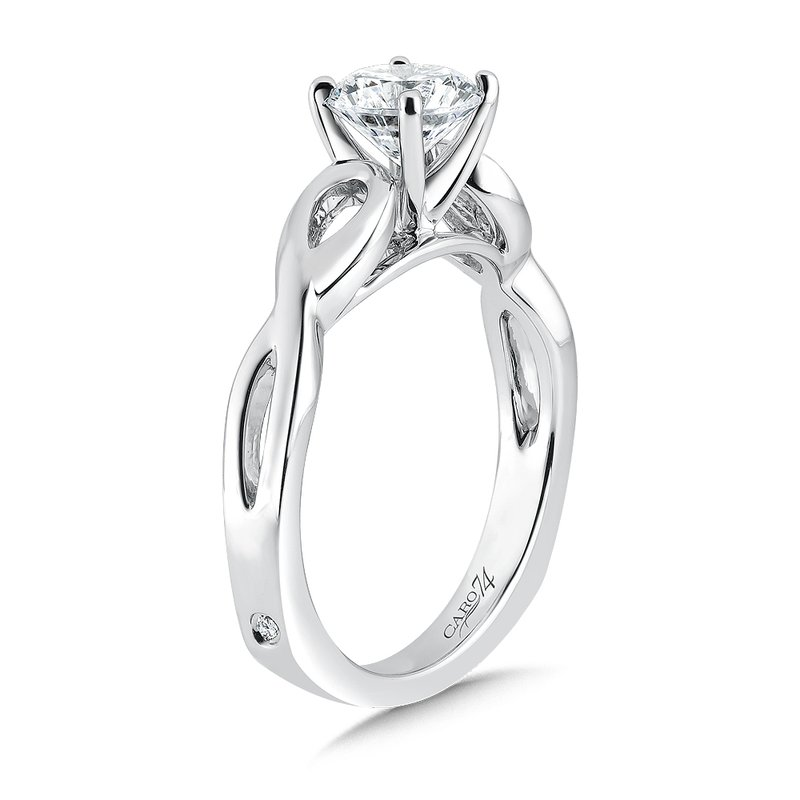 Caro74 Classic Elegance Collection Criss Cross Engagement Ring in 14K White Gold with Platinum Head (1 ct.)
