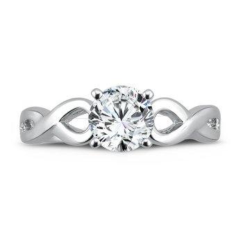Classic Elegance Collection Criss Cross Engagement Ring in 14K White Gold with Platinum Head (1 ct.)