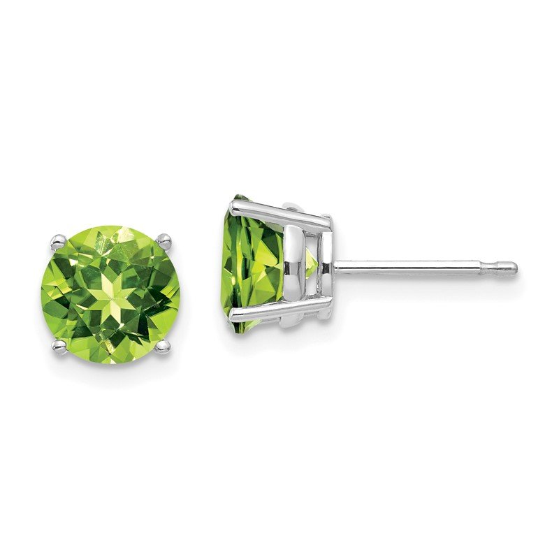 Quality Gold 14k White Gold 7mm Peridot Earrings