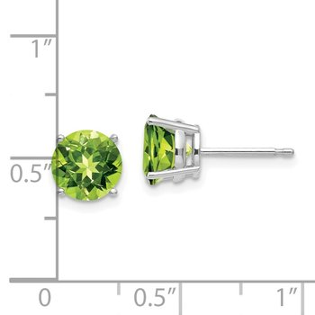 14k White Gold 7mm Peridot Earrings