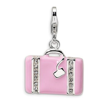 Sterling Silver Swarovski Element Laptop Bag w/Lobster Clasp Charm