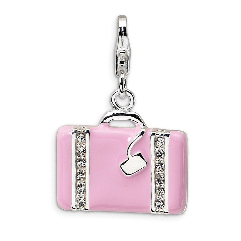 Arizona Diamond Center Collection Sterling Silver Swarovski Element Laptop Bag w/Lobster Clasp Charm