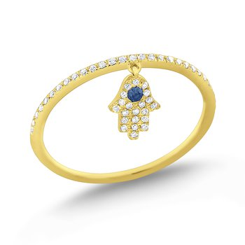Blue Sapphire & Diamond Lucky Charm Hamsa Ring Set in 14 Kt. Gold