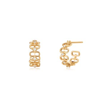Anastasia | Diamond Paper Clip C-Hoop Earrings