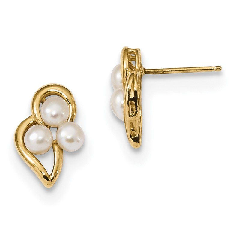 Quality Gold 14k 3-4mm White Button Freshwater Cultured Pearl Post Earrings