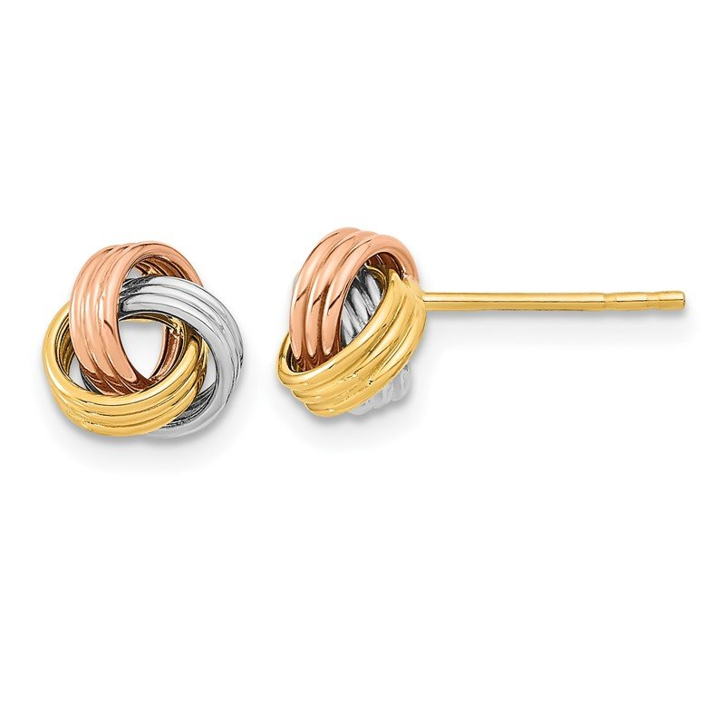Quality Gold 14k Tri-Color Polished Love Knot Post Earrings